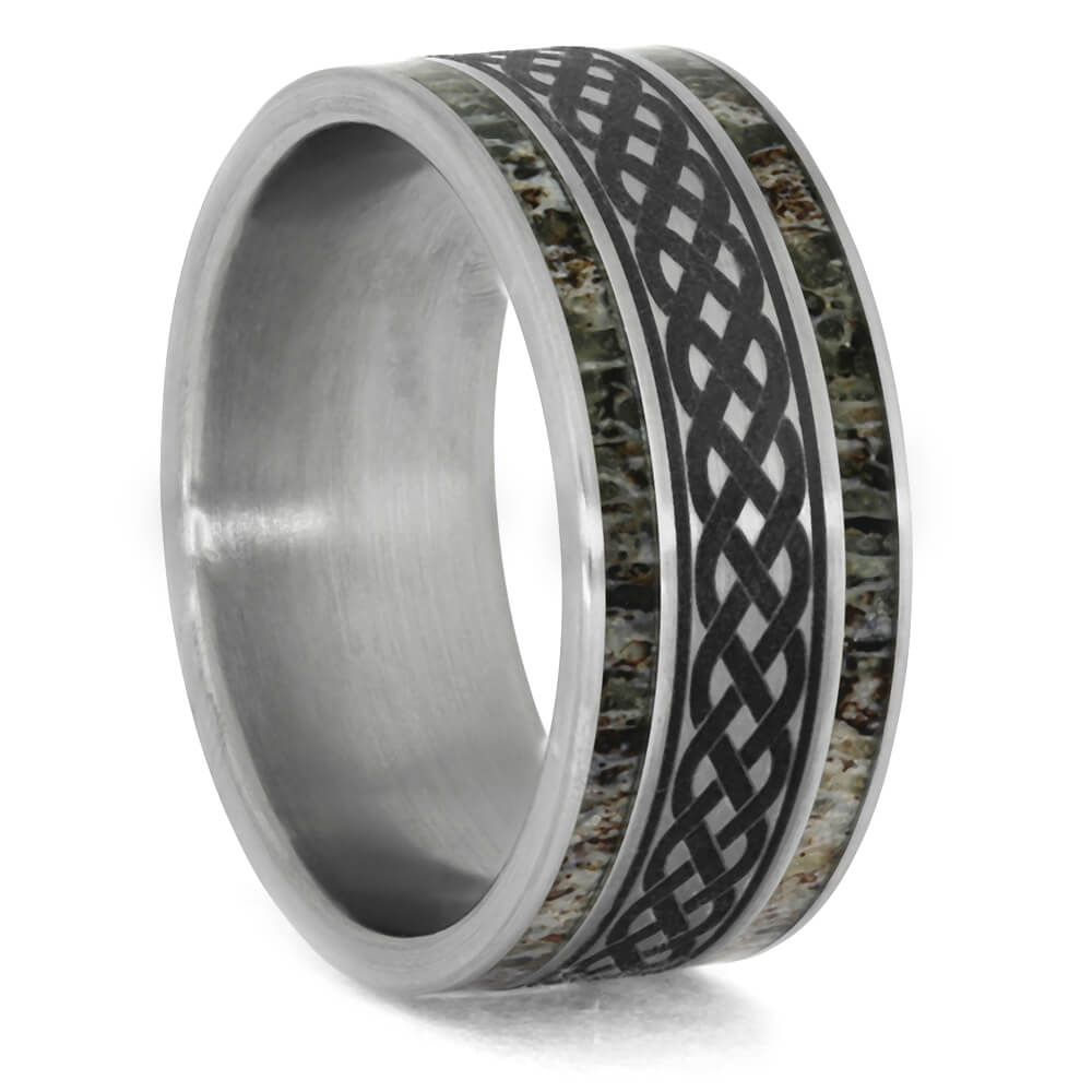 Titanium Ring with Celtic Knot Engraving and Antler Stripes, Size 8.75-RS10386 - Jewelry by Johan
