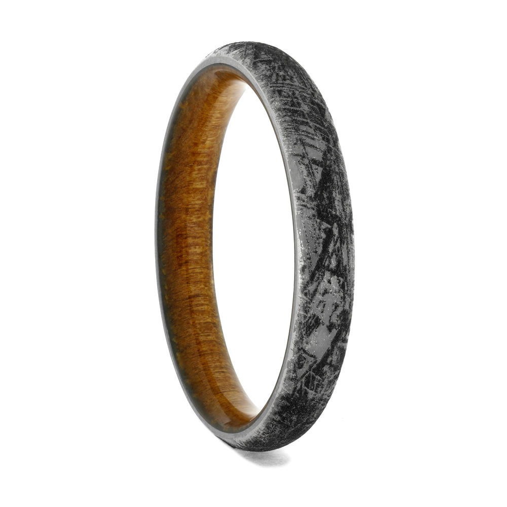 Engraved Titanium Wedding Band With Kauri Wood Sleeve, Size 11.5-RS10396 - Jewelry by Johan