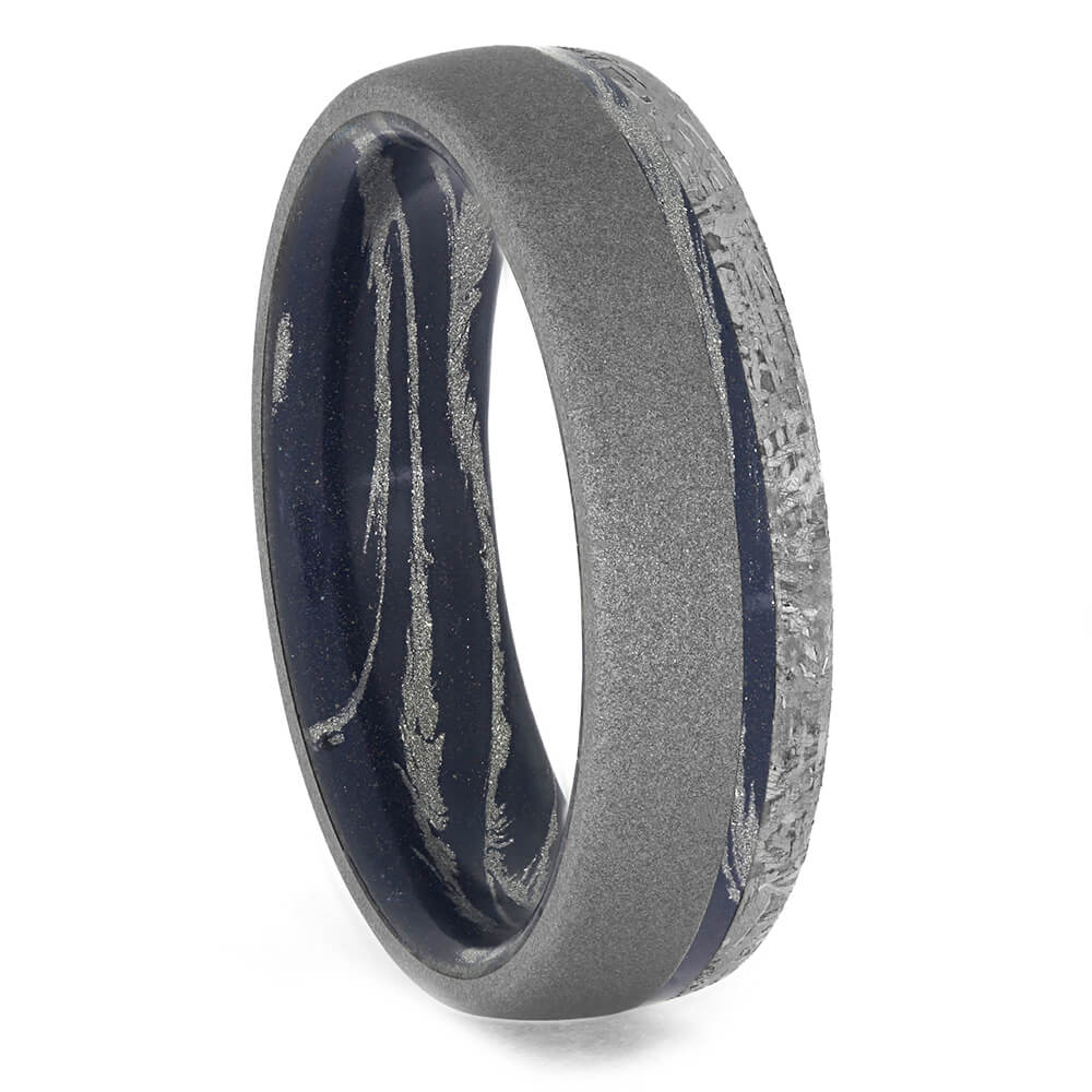 Mokume Wedding Band with Sandblasted Titanium and Meteorite, Size 12.5-RS10399 - Jewelry by Johan