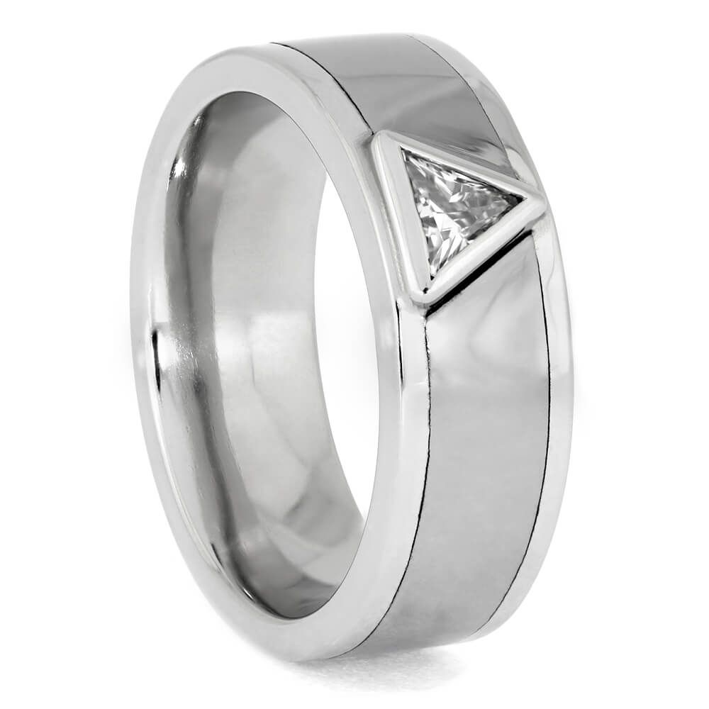Platinum and Silver Triangle Signet Ring