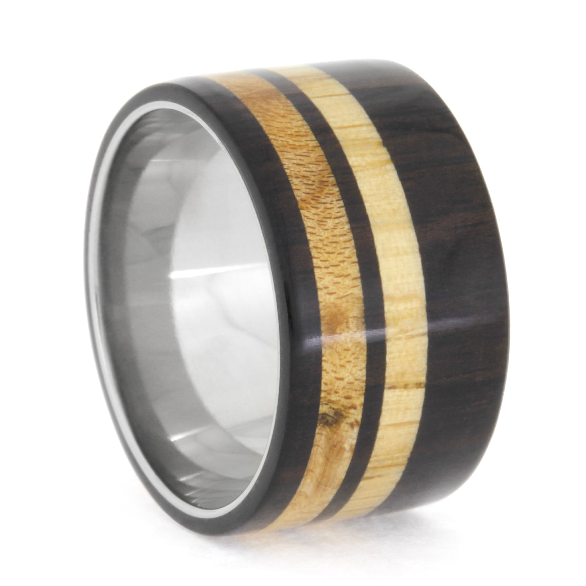 Blackwood Ring with Maple and Oak Wood in Titanium Band