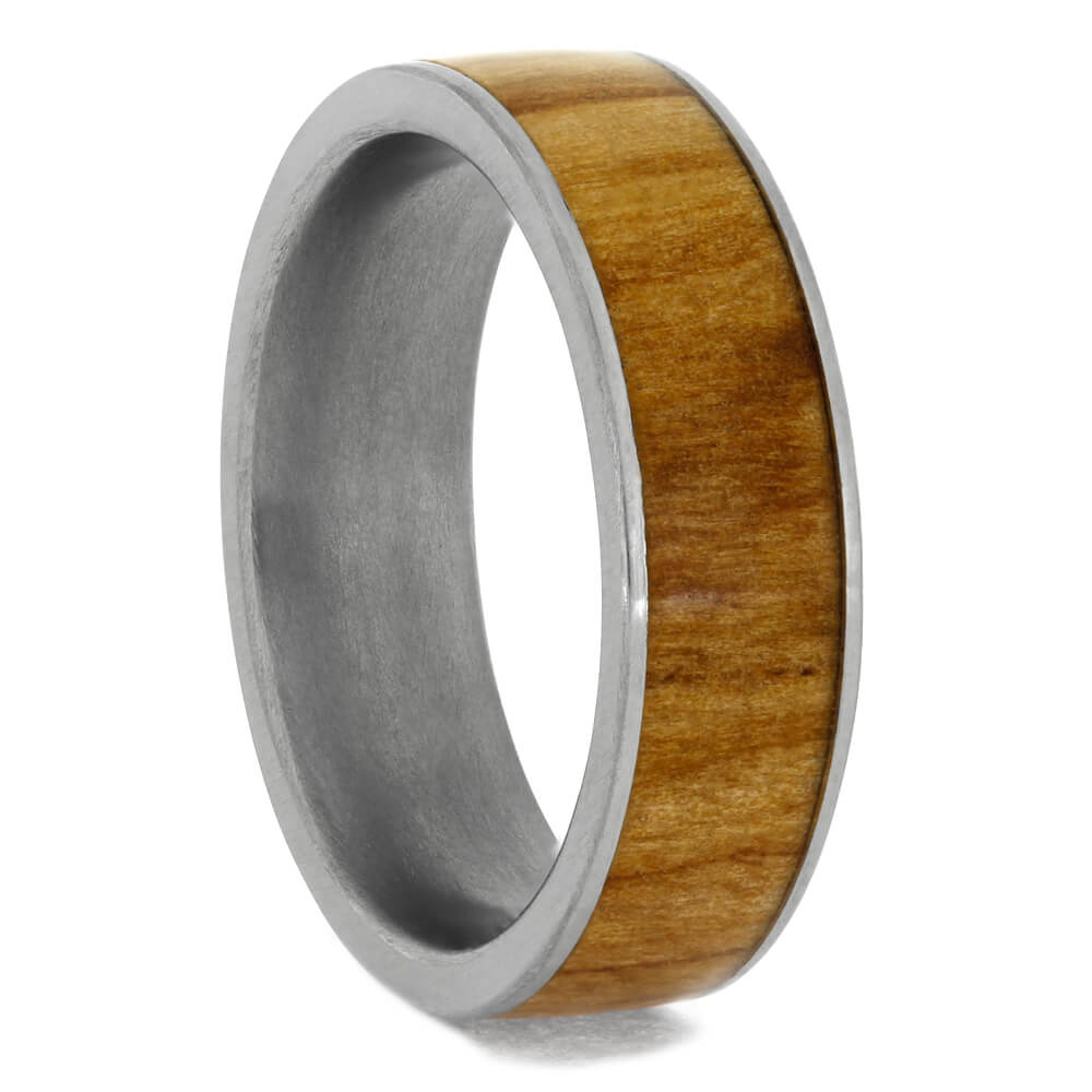 Rowan Wood Ring on Flat Titanium Sleeve, Size 7.75-RS10408 - Jewelry by Johan