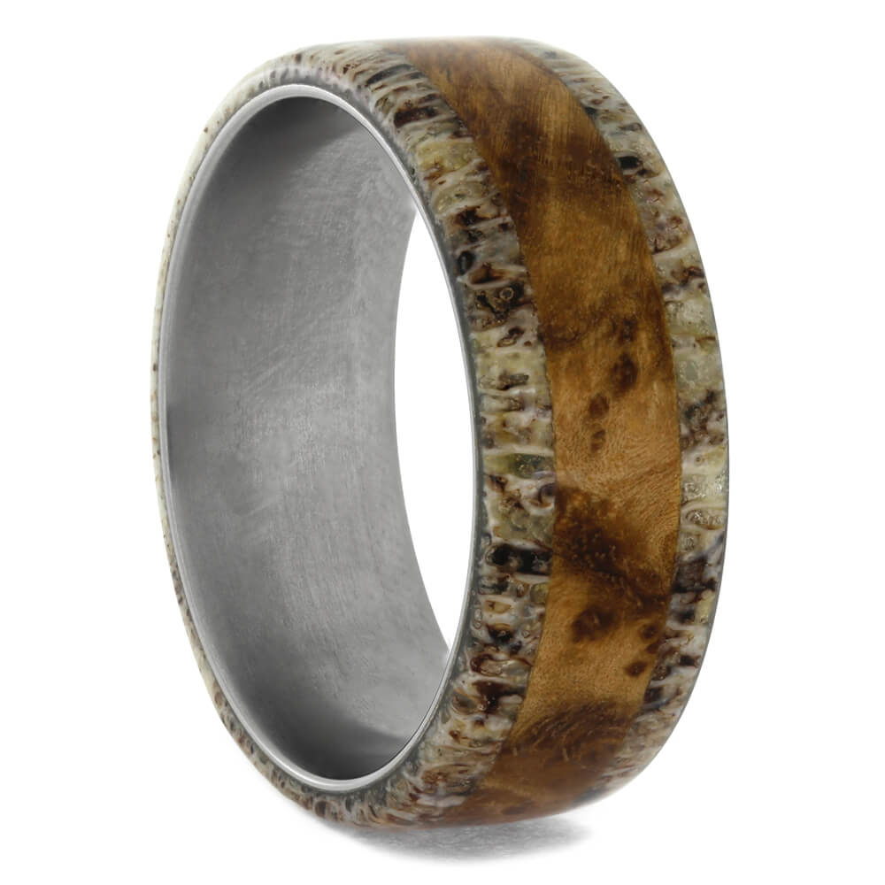 Natural Black Ash Burl and Deer Antler Men's Wedding Band, Size 9.75-RS10420 - Jewelry by Johan