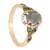 14k Rose Gold Halo Engagement Ring, Faceted Meteorite with Diamonds and Emeralds Size 6-RS10422