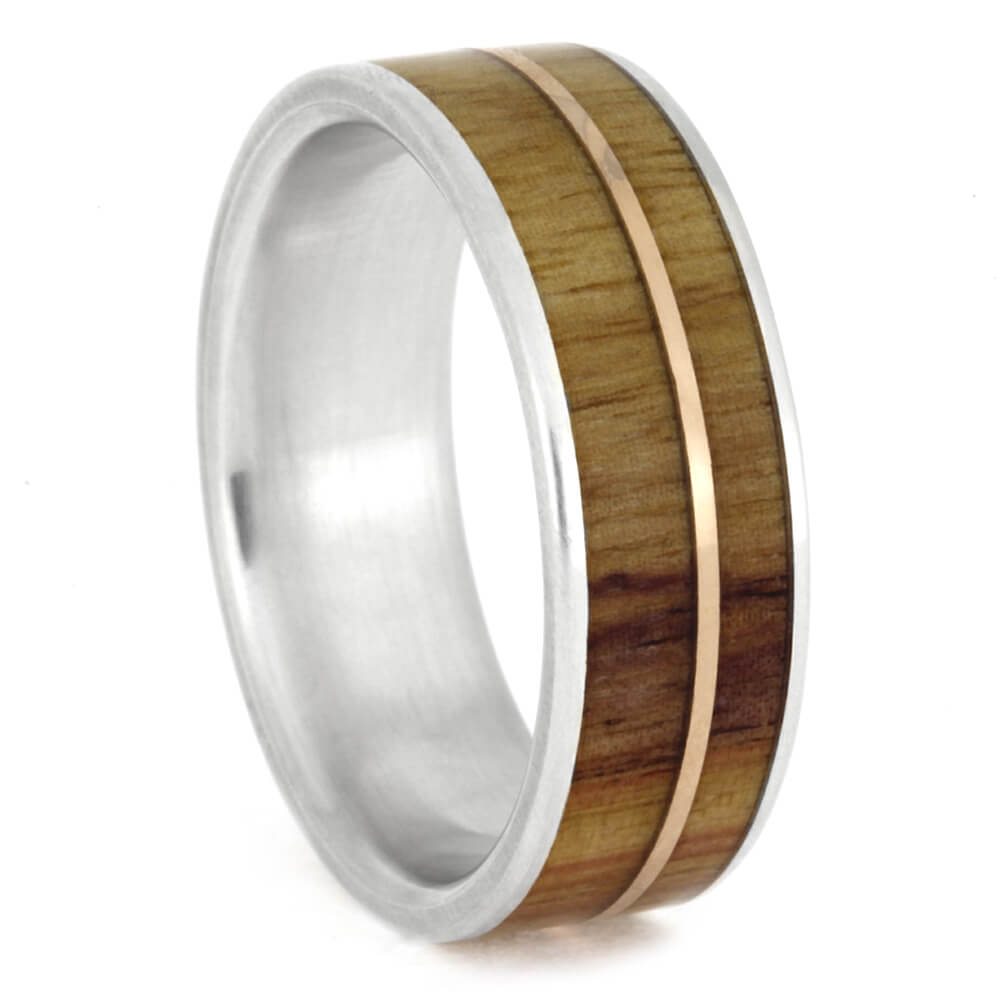 Tulipwood Ring With A Rose Gold Pinstripe, Size 8-RS10428 - Jewelry by Johan