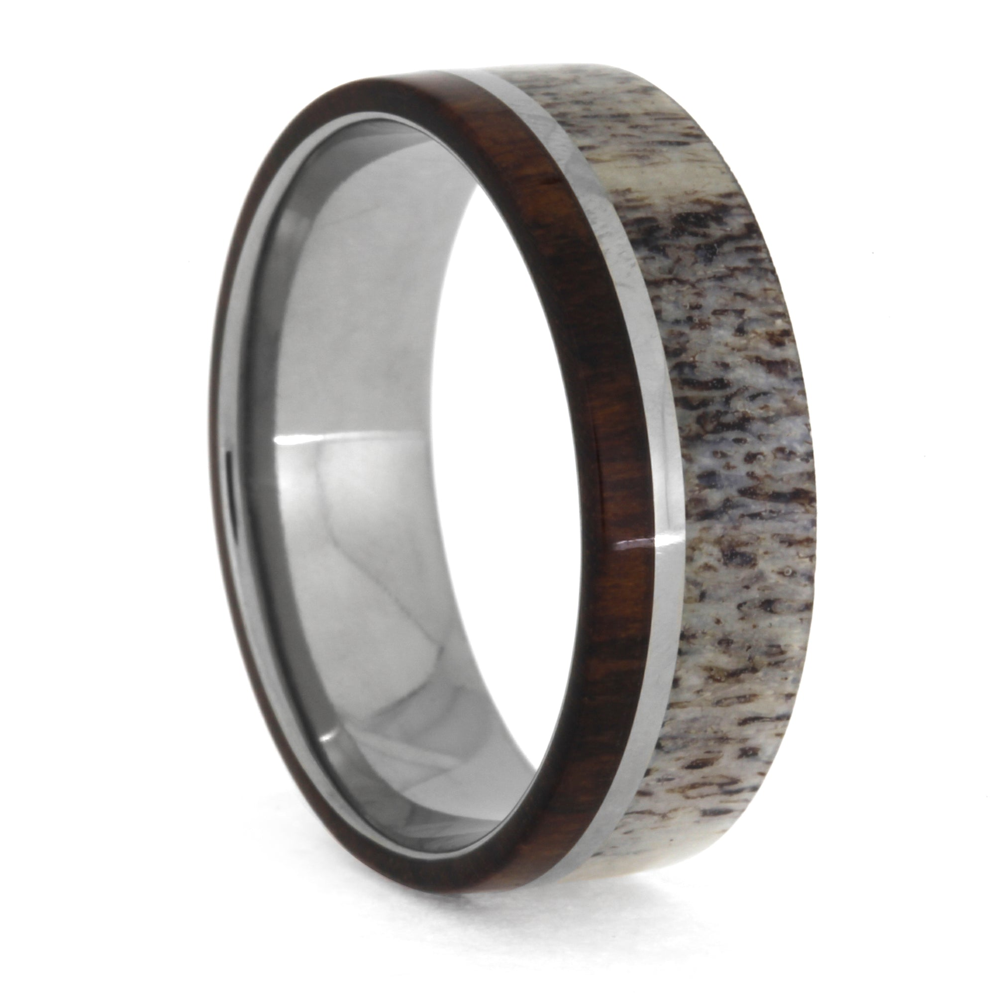 Deer Antler and Snakewood Ring in Titanium, Size 12-RS10434 - Jewelry by Johan