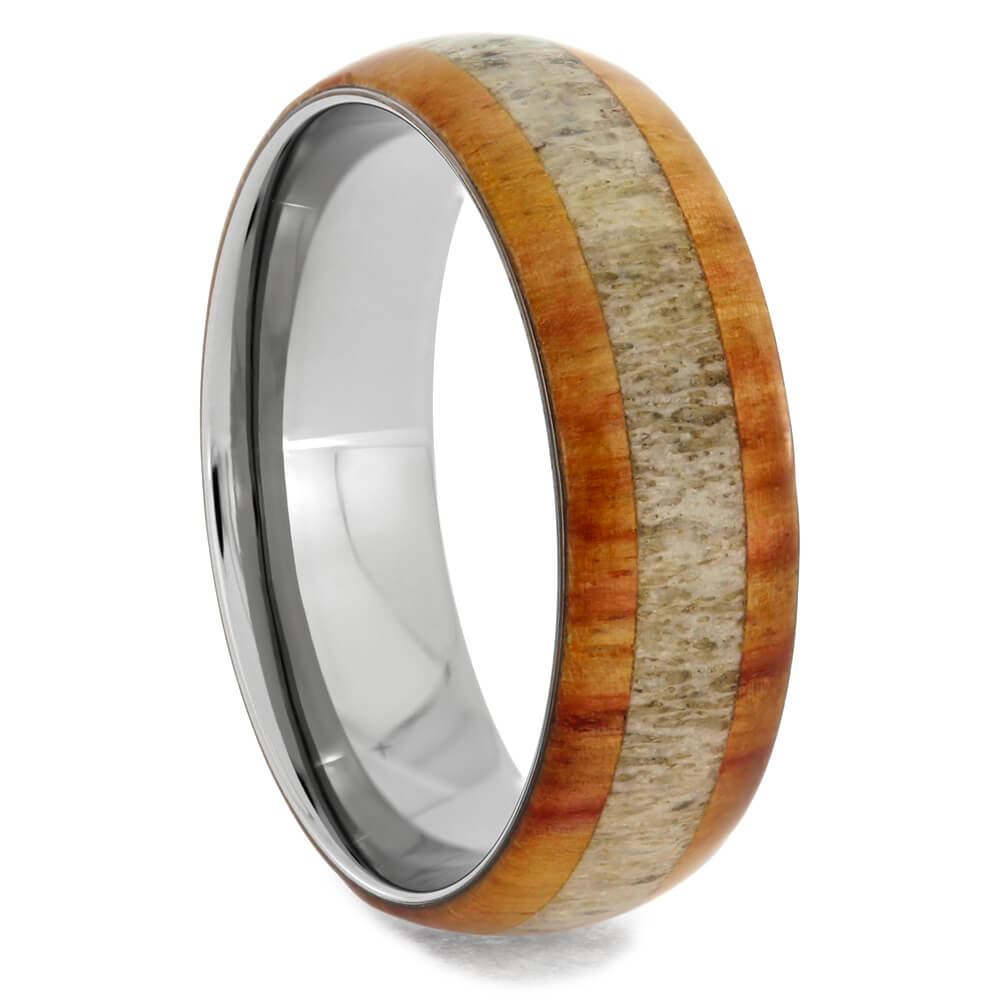 Tulipwood Titanium Ring with Deer Antler Inlay, Size 10.5-RS10437 - Jewelry by Johan