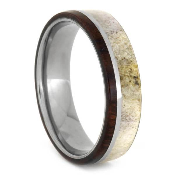Antler and Ironwood Ring in Titanium Band, Size 10-RS10455 - Jewelry by Johan