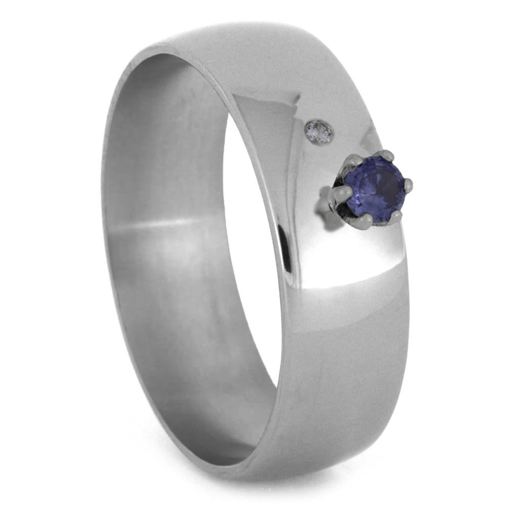 Silver Engagement Ring with Tanzanite and Offset Moissanite