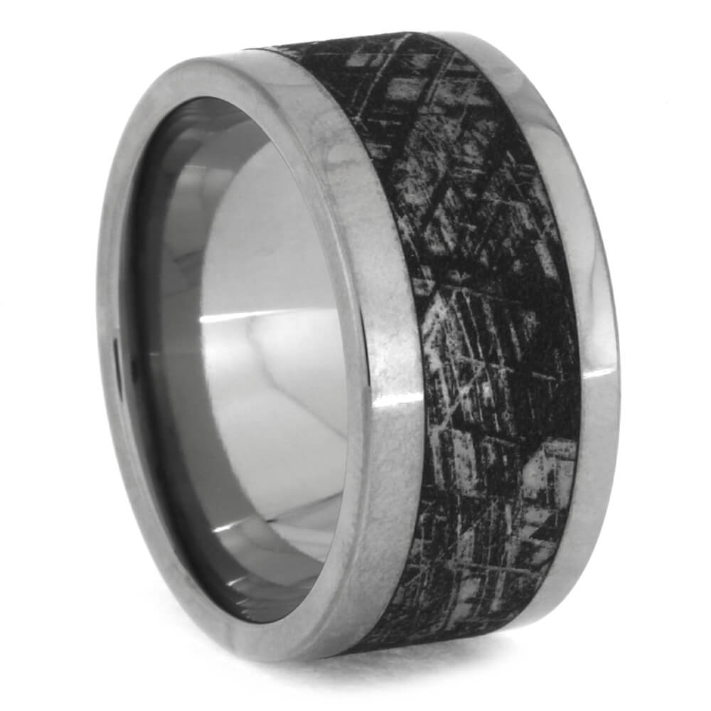 Titanium Ring with Mimetic Meteorite, Size 7-RS10460 - Jewelry by Johan