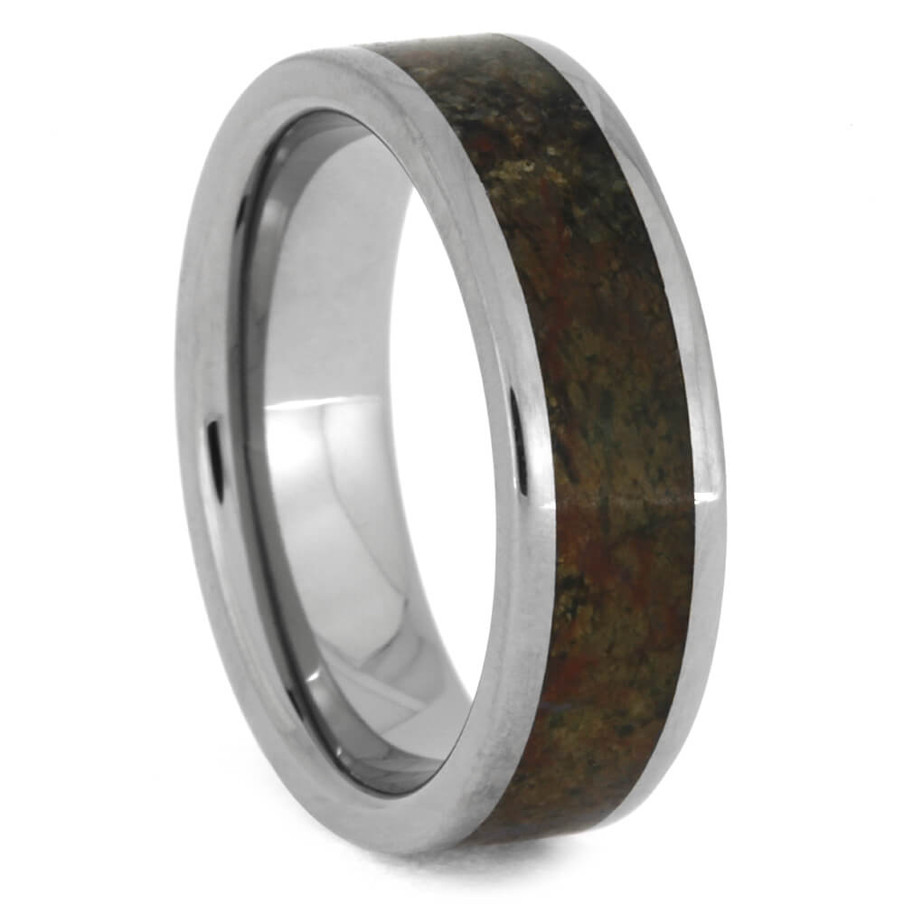 Solid Dinosaur Bone Men's Wedding Band in Titanium Band, Size 7-RS10462 - Jewelry by Johan