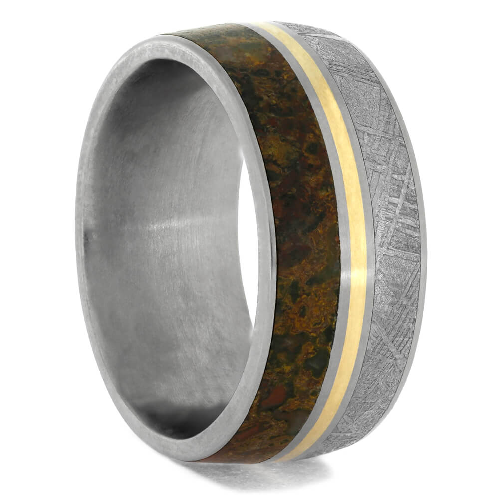 Dinosaur Bone Wedding Band With Gold Pinstripes, Size 8.5-RS10465 - Jewelry by Johan