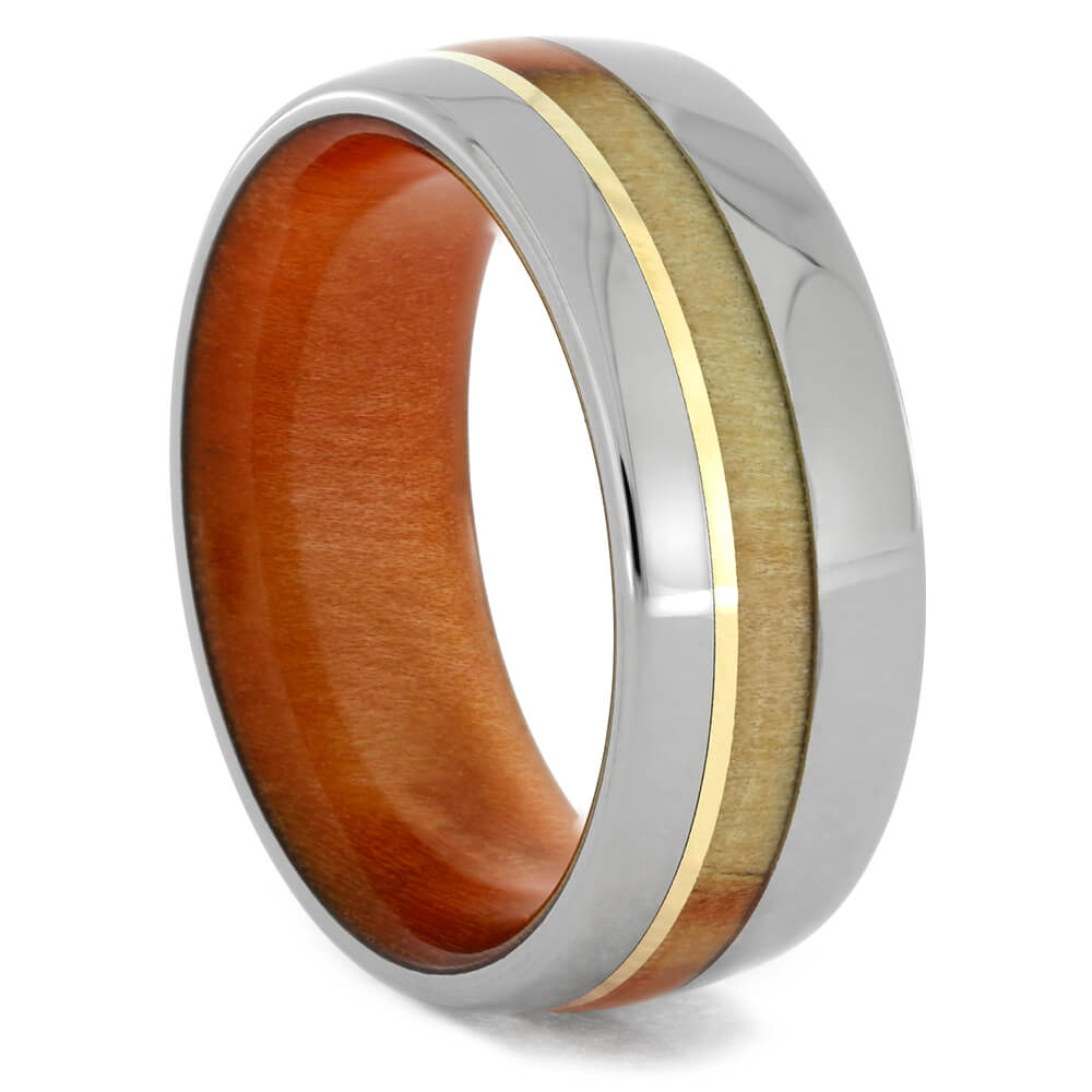 Flame Box Elder Burl Ring In Titanium With Yellow Gold Stripe, Size 8-RS10474 - Jewelry by Johan