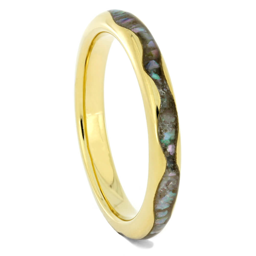 Abalone Ring, 18k Yellow Gold Ring with Wavy Design, Size 7.5-RS10475 - Jewelry by Johan