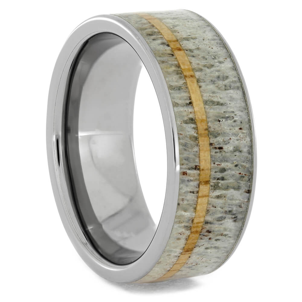 Antler Wedding Band with Oak Wood Pinstripe, Size 8.5-RS10478 - Jewelry by Johan