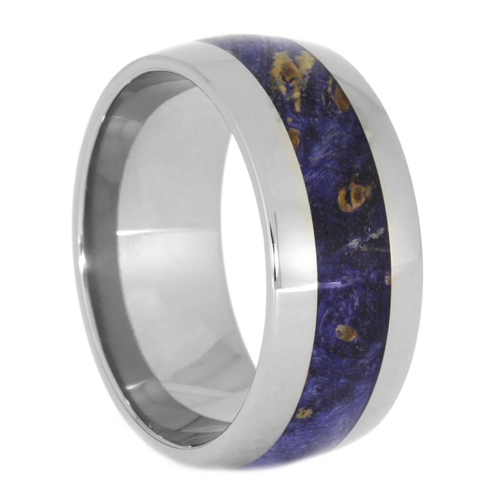 Blue Wood Wedding Band in Titanium, Size 11.75-RS10479 - Jewelry by Johan