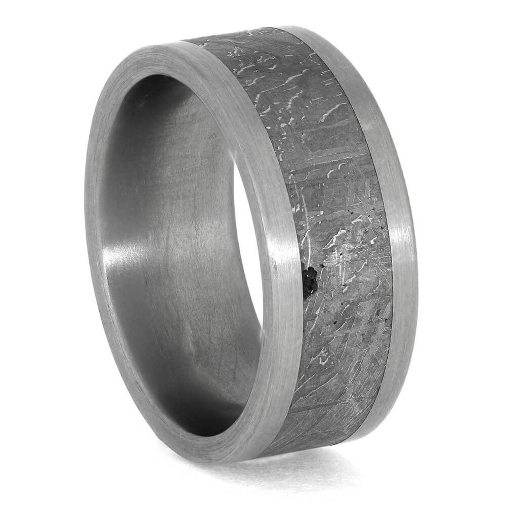 Brushed Titanium Ring with Gibeon Meteorite, Size 7-RS10484 - Jewelry by Johan