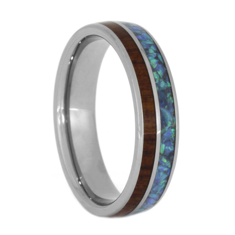 Wood Wedding Band, Snakewood Ring with Crushed Synthetic Opal, Size 7.75-RS10493 - Jewelry by Johan