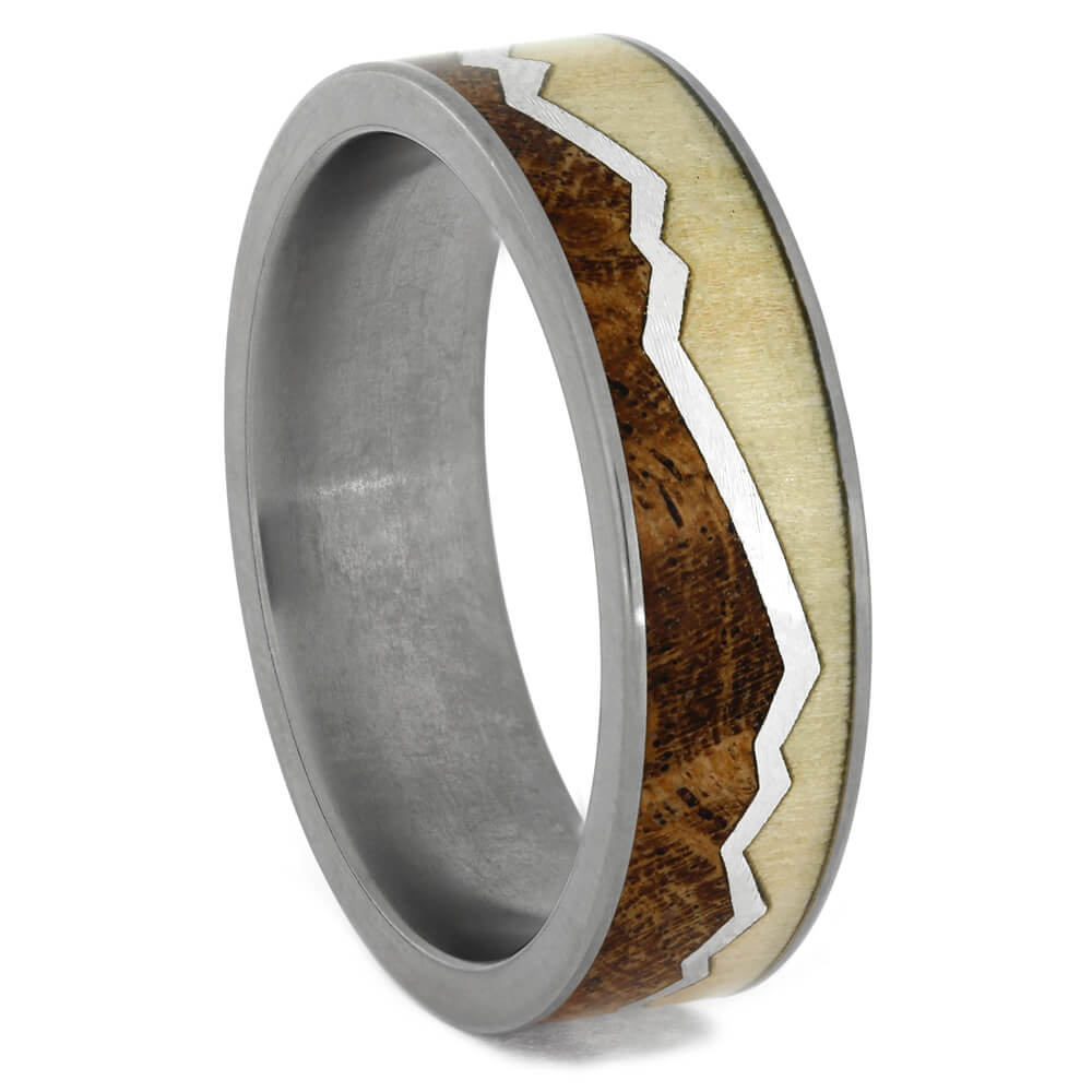 Mountain Wedding Band with Aspen and Mesquite Wood