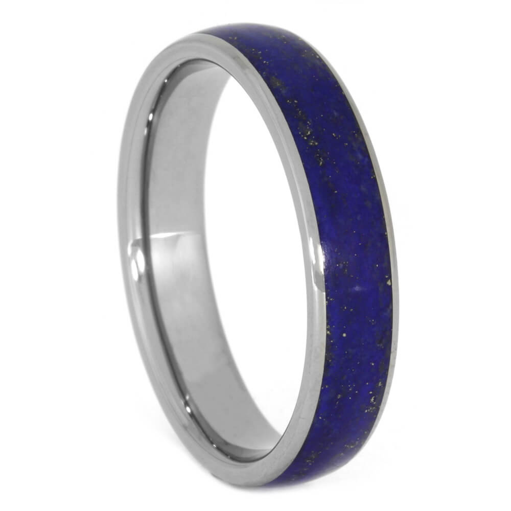 Lapis Lazuli Wedding Band, Blue Titanium Unisex Ring, Size 12.25-RS10502 - Jewelry by Johan