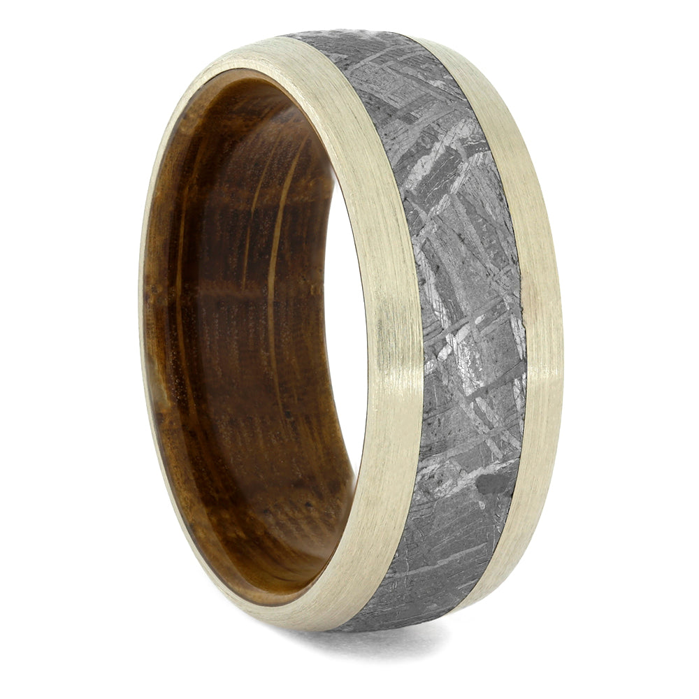 Men's Oak Wood Wedding Band with Meteorite and White Gold, Size 13-RS10503 - Jewelry by Johan