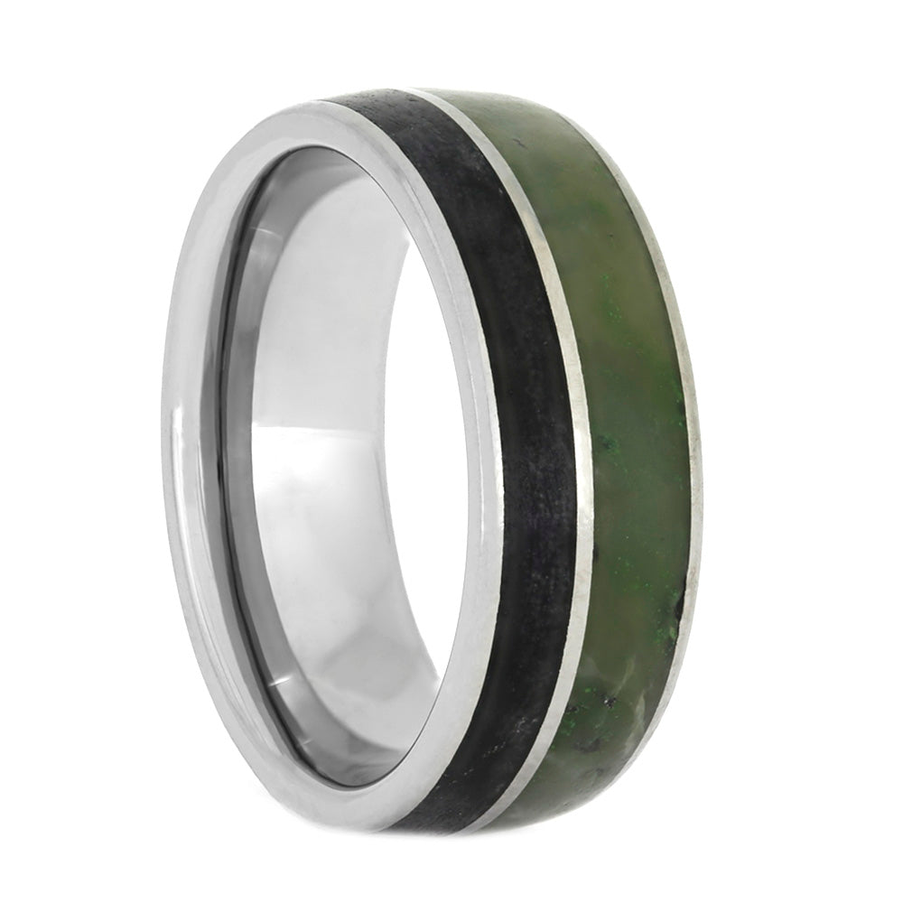 Obsidian and Jade Wedding Band in Titanium, Size 6-RS10504 - Jewelry by Johan