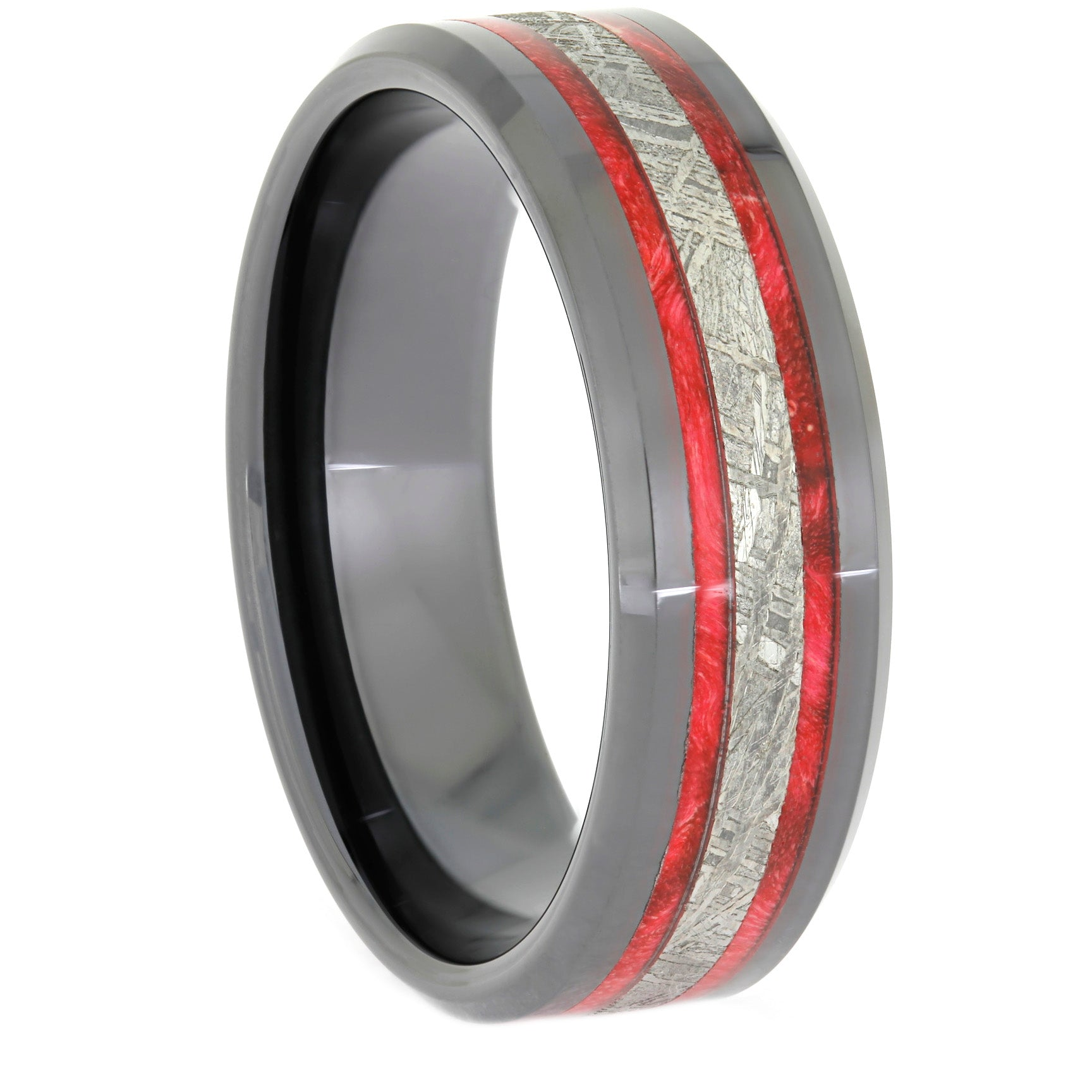 Black Ceramic Wedding Band, Red Box Elder and Meteorite Ring, Size 13.25-RS10511 - Jewelry by Johan