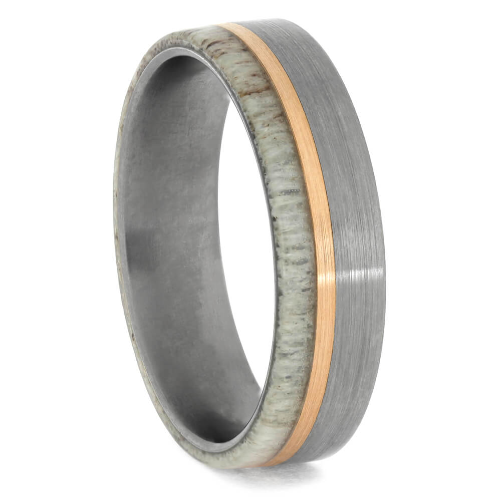 Rose Gold Ring with Antler and Titanium Edges
