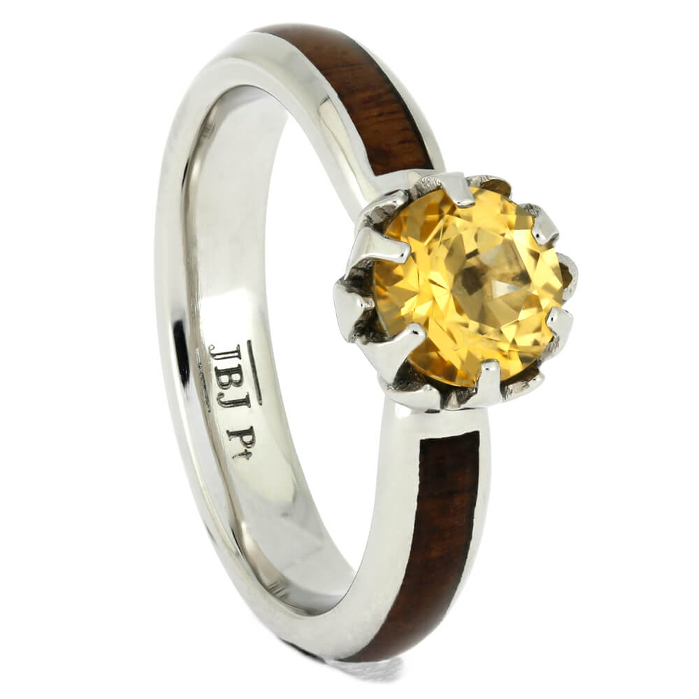 Platinum Engagement Ring with Partial Wood Inlay