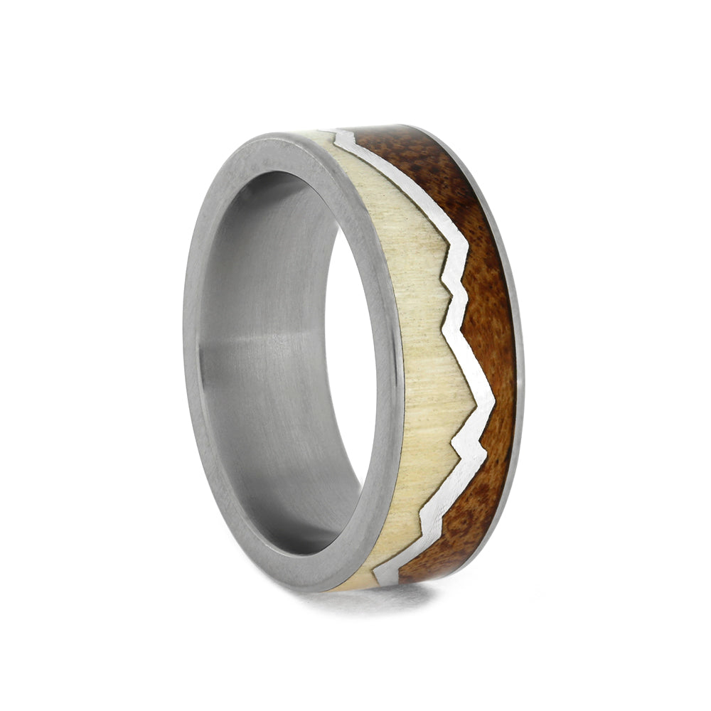 Men's Wood Wedding Band With Mountain Ring Design, Size 7-RS10522 - Jewelry by Johan