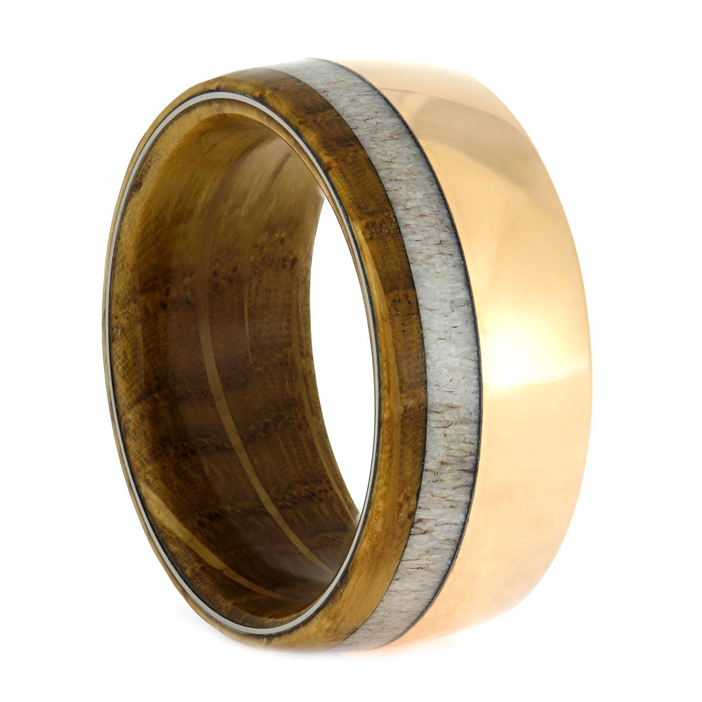 Whiskey Barrel Wood and Antler Ring In Rose Gold, Size 10.25-RS10530 - Jewelry by Johan