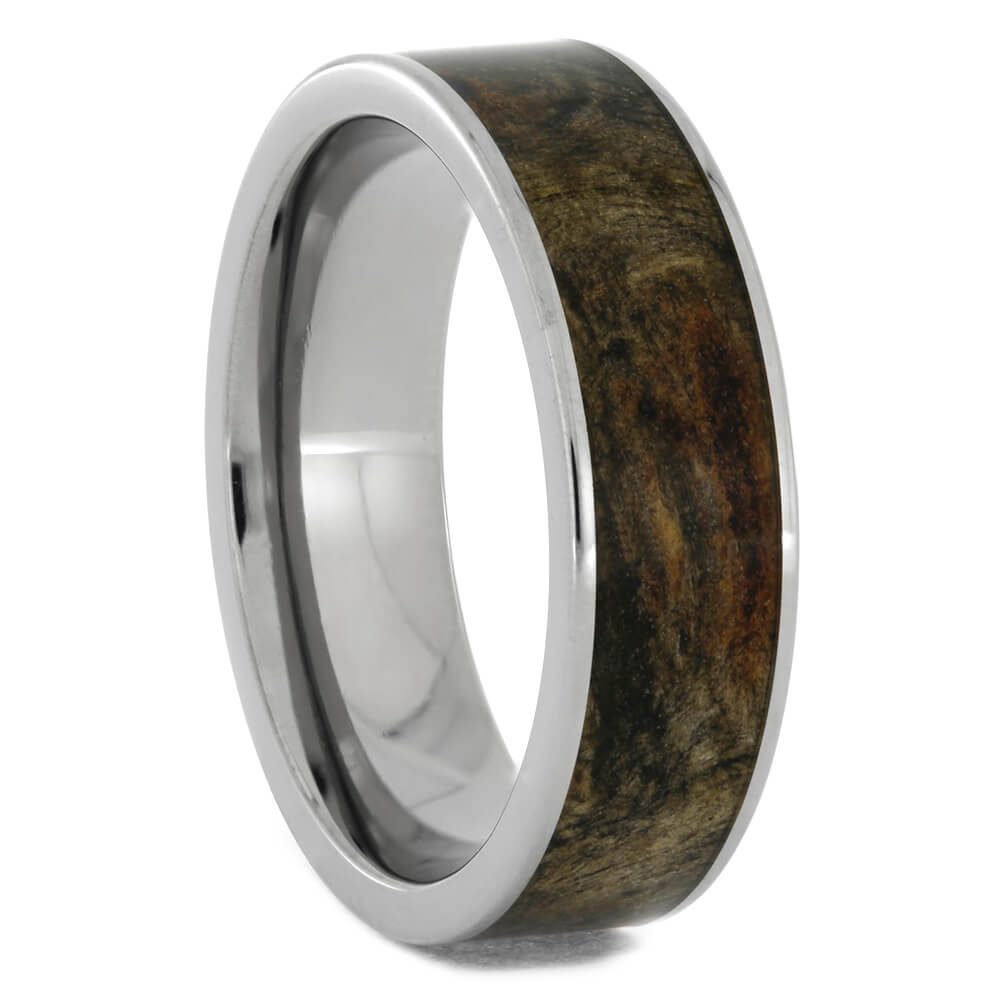 Flat Titanium Wedding Band with Buckeye Burl Wood