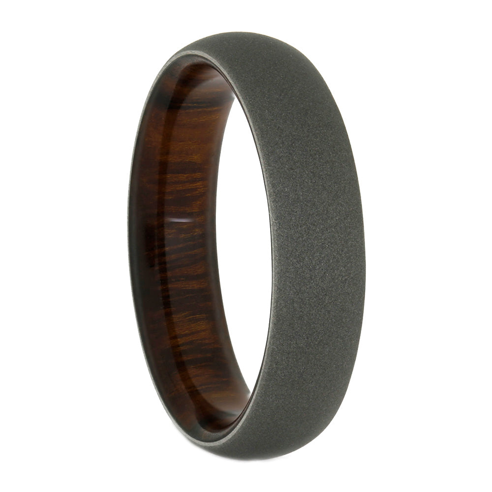 Mens Titanium Ring With Rosewood Sleeve, Size 11.5-RS10534 - Jewelry by Johan