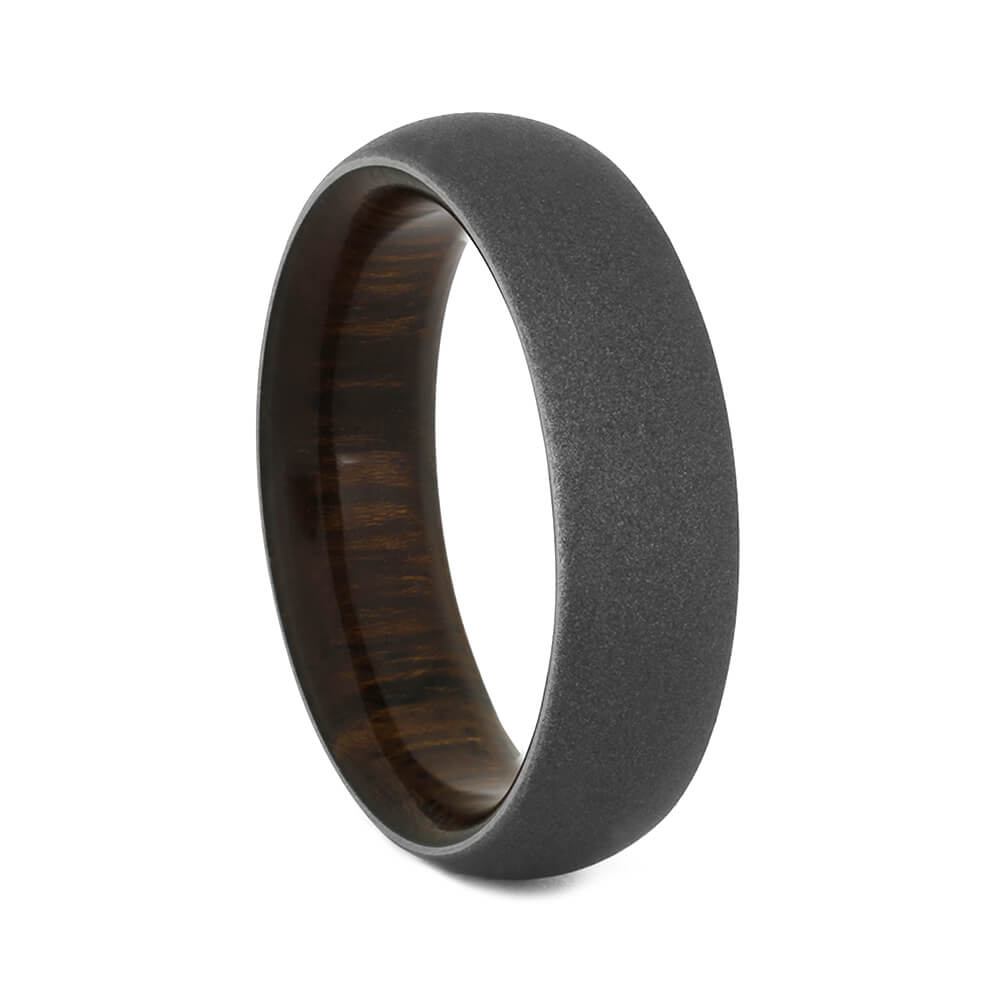 Sandblasted Titanium Ring with Rosewood Sleeve, Size 7.5-RS10535 - Jewelry by Johan