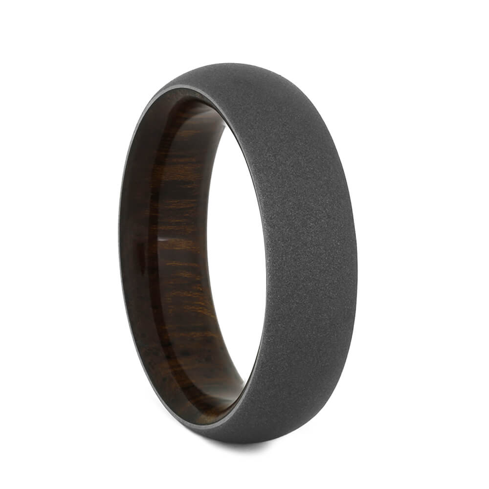 Men's Wedding Bands with Wood Sleeve and Sandblasted Finish