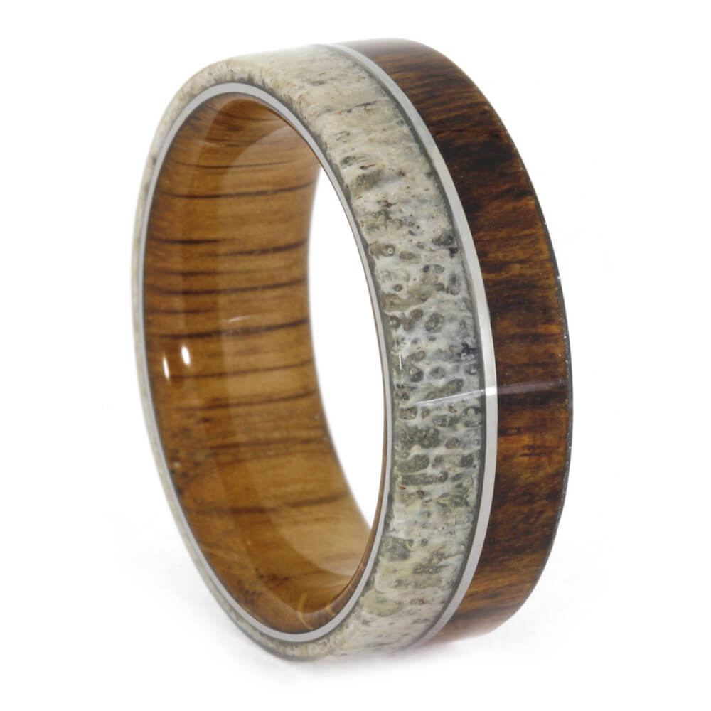 deer antler ring with wood sleeve