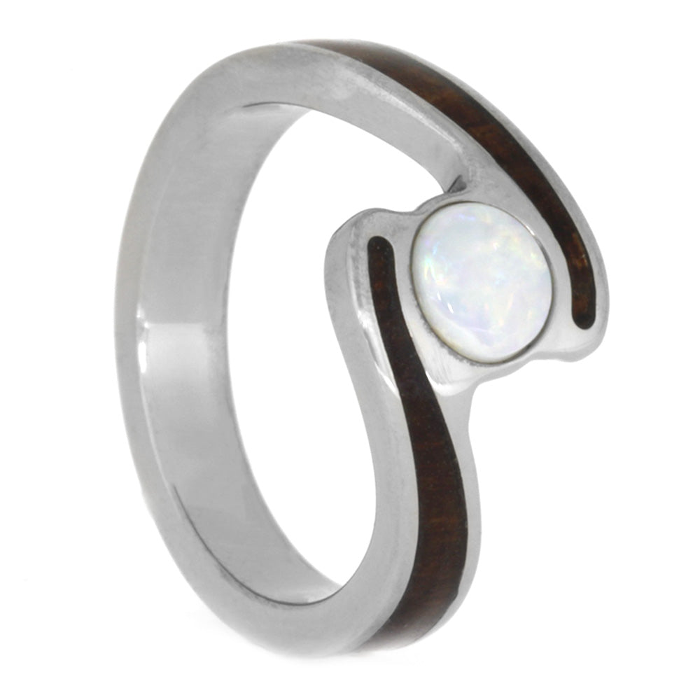 Opal Engagement Ring, Rosewood and Titanium Ring, Size 6.5-RS10543