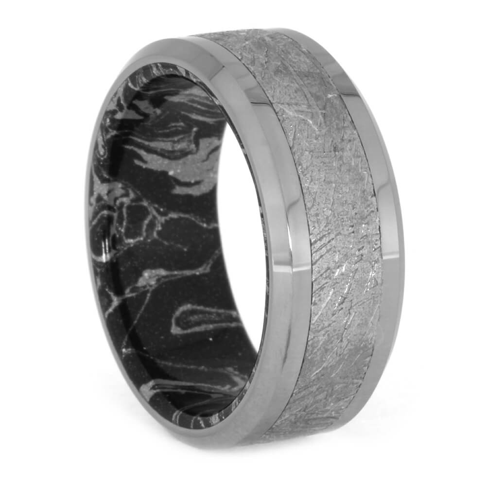 Tungsten Wedding Band with white and black sleeve