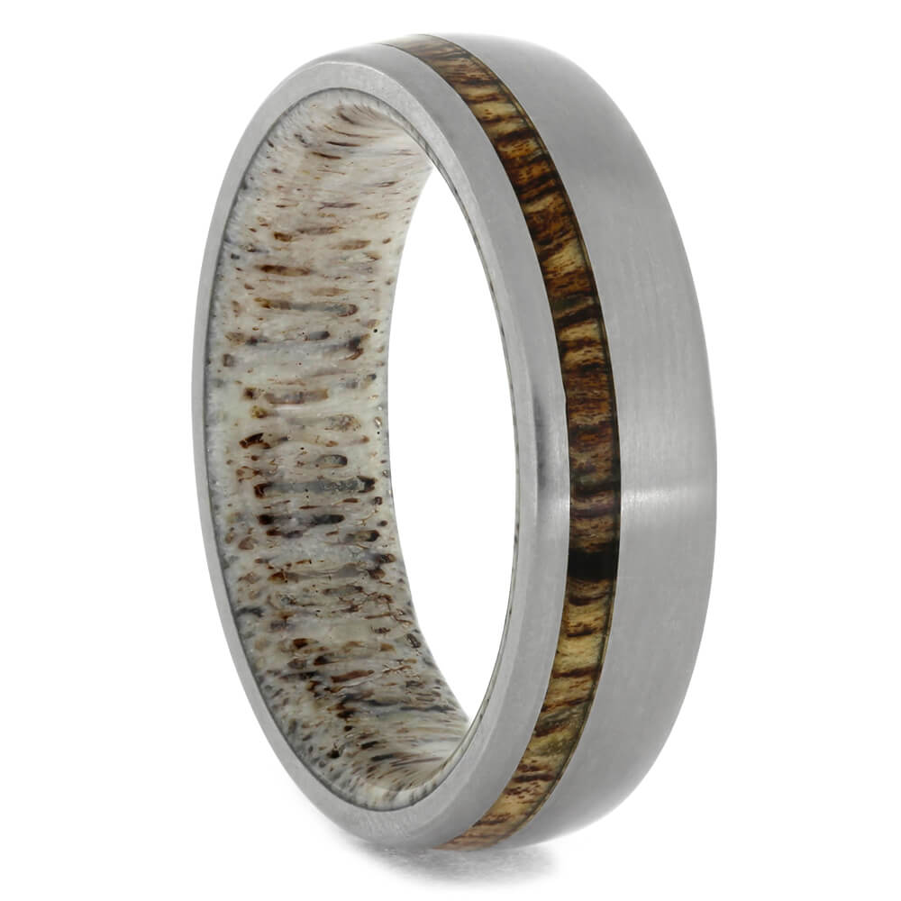 Koa Wood and Titanium Ring with Antler Sleeve