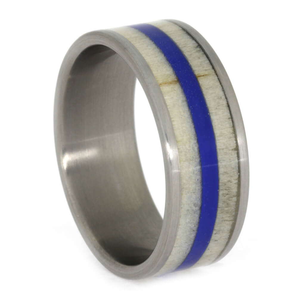 Aspen Wood Wedding Band with Blue Pinstripe, Size 9-RS10571 - Jewelry by Johan