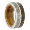 Meteorite Wedding Band with Dinosaur Bone and Whiskey Barrel Wood Sleeve, Size 7-RS10572