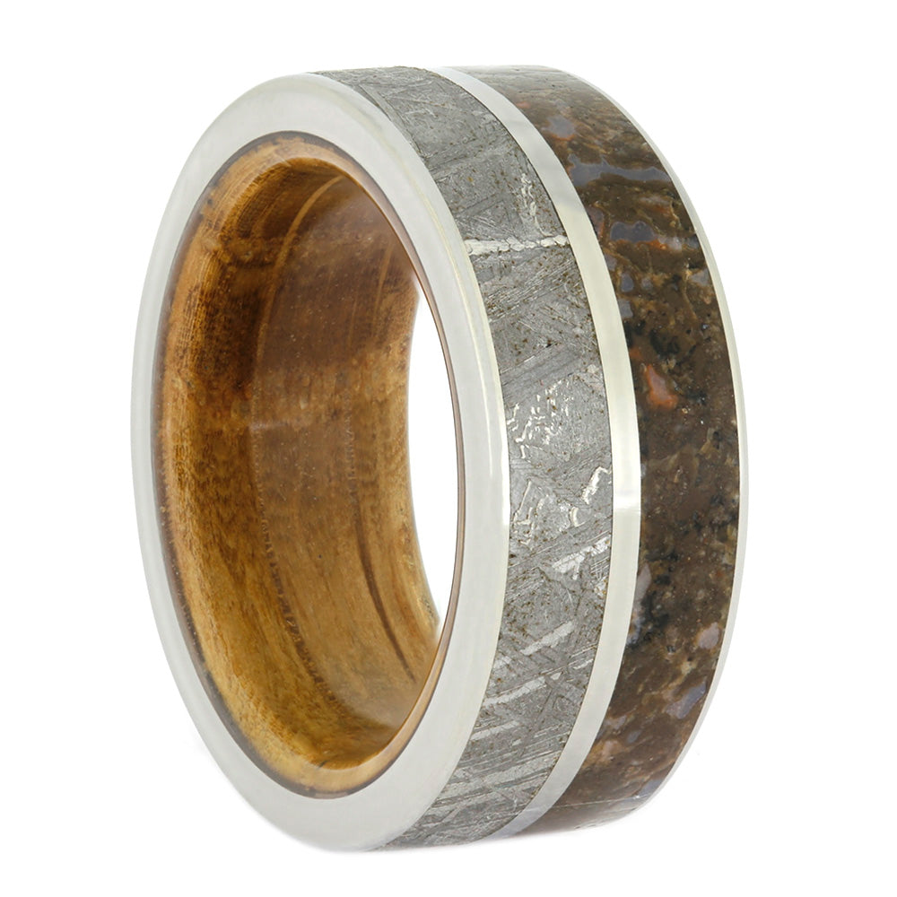 823889f3b1399 Meteorite And Dino Bone Wedding Band with Whiskey Oak Sleeve, Size 7-RS10572