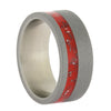 Red Stardust Ring, Titanium Wedding Band with Sandblasted Finish, Size 9-RS10574