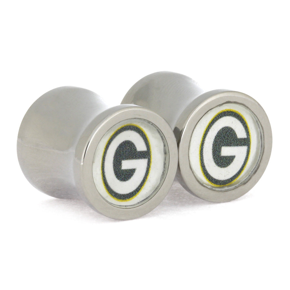 Green Bay Packers Ear Gauges, Titanium Ear Gauges, Saddle Plugs 12 mm-RS10578 - Jewelry by Johan
