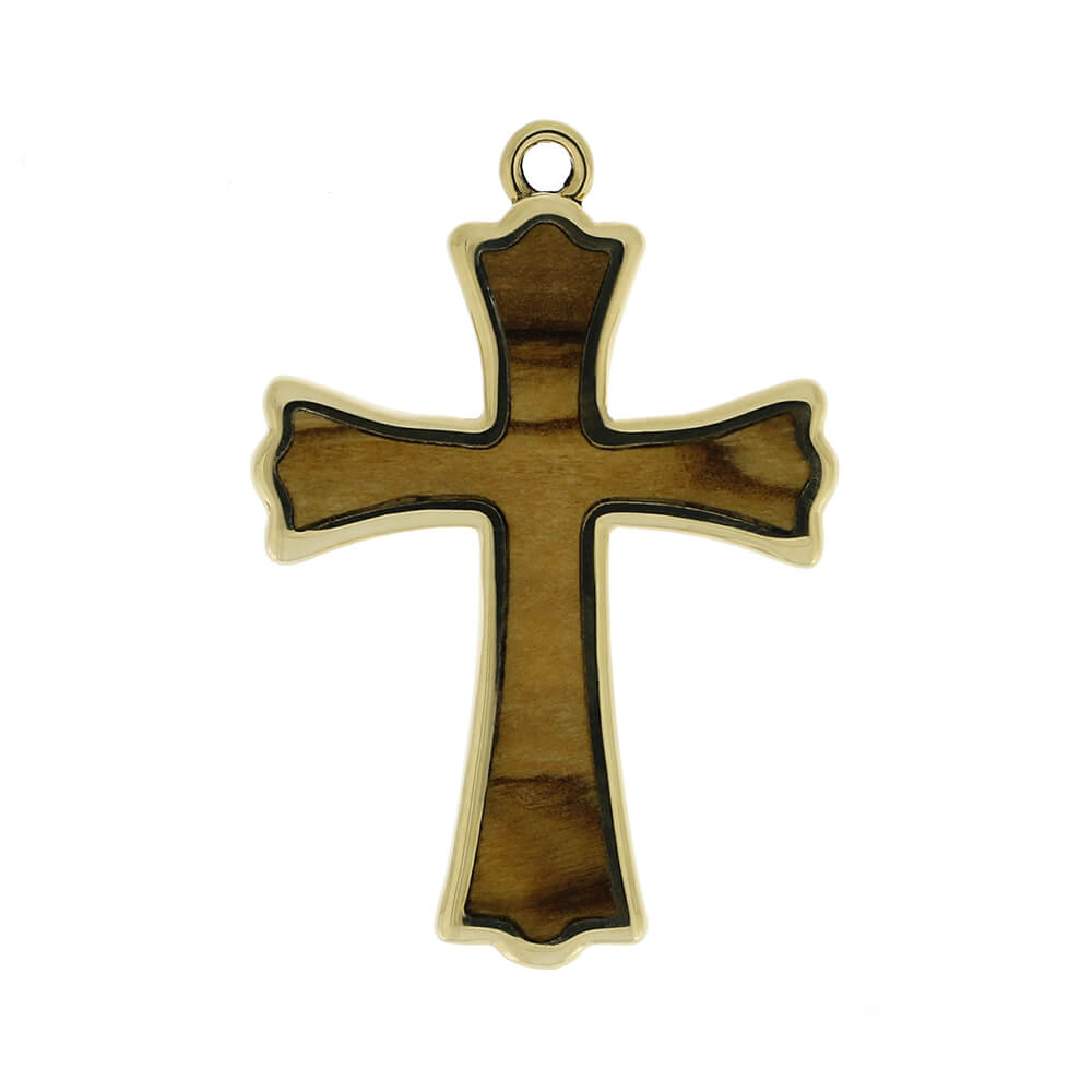 White Gold Cross Pendant with Bethlehem Olive Wood Inlay-RS10580 - Jewelry by Johan