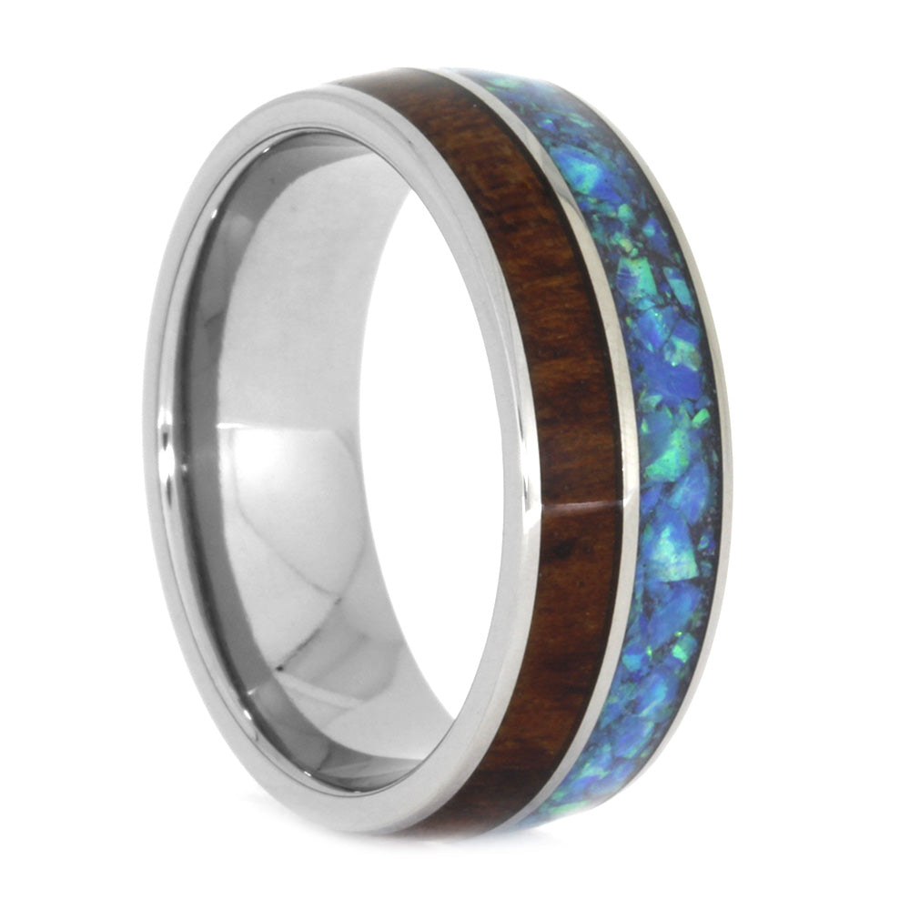 Crushed Opal Wedding Band, Titanium and Snakewood Ring, Size 7.75-RS10587 - Jewelry by Johan