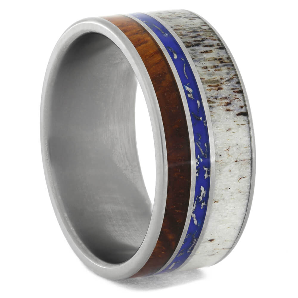 Unique Antler Ring with Blue Stardust™ and Amboyna Wood, Size 11-RS10593 - Jewelry by Johan