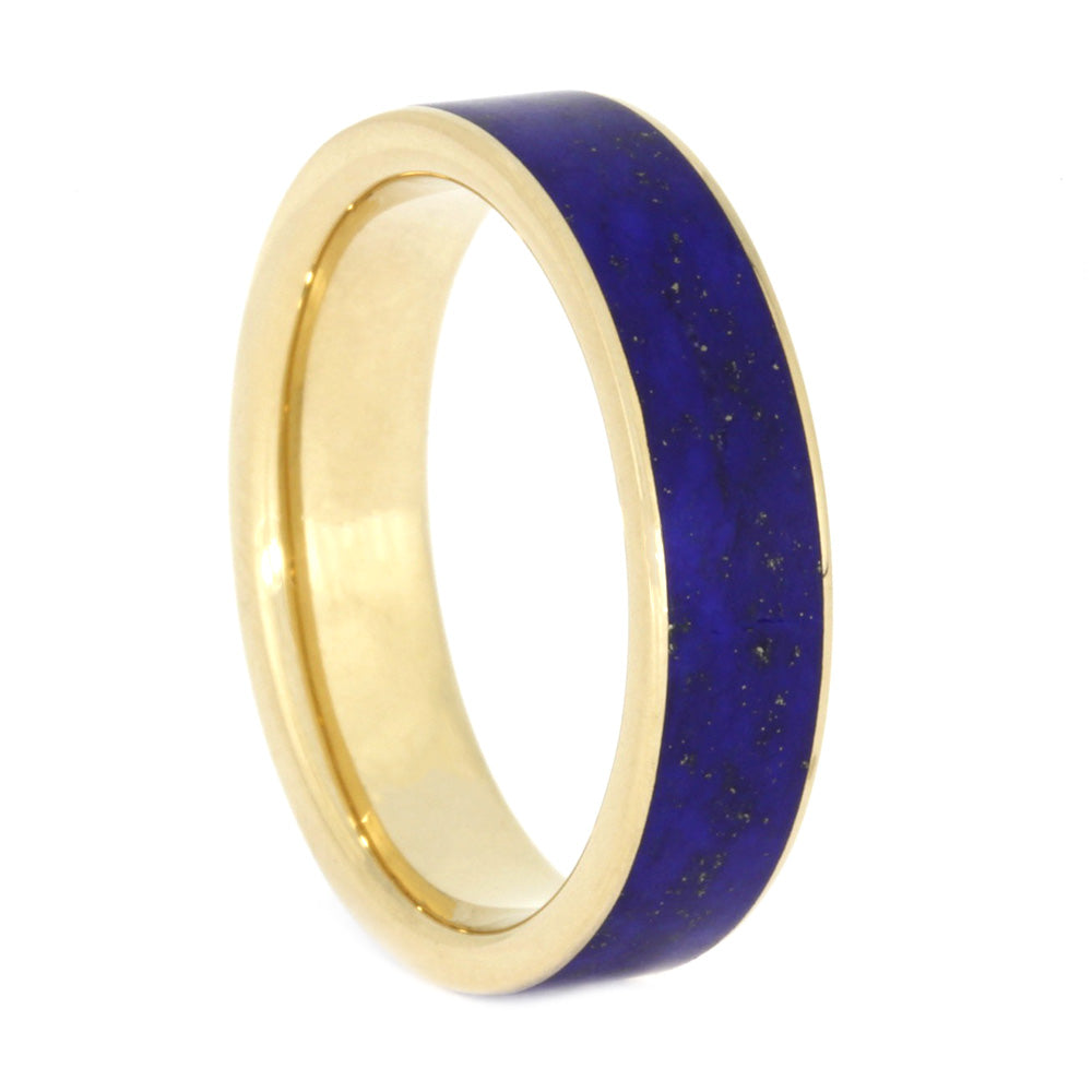 Lapis Lazuli Ring, Unisex 14k Yellow Gold Ring, Size 7.25-RS10596 - Jewelry by Johan