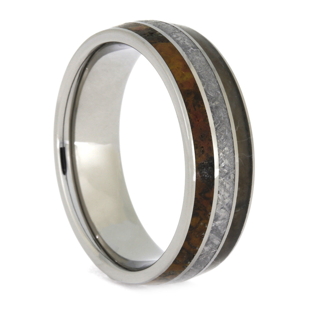 Men's Meteorite Wedding Ring with Dinosaur Bone, Size 13.5-RS10602 - Jewelry by Johan