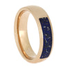 Blue Stardust Wedding Ring in Rose Gold, Blue Wedding Ring, Size 9-RS10604